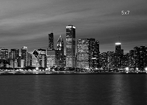 Chicago Skyline print, city wall art, black and white photography, 5x7 to 30x45