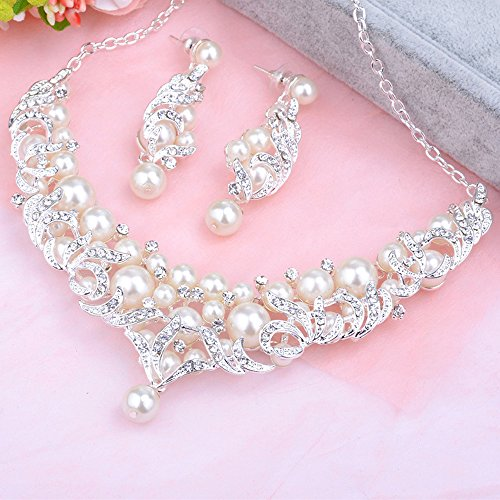 FEDONA Simulated Pearl Crystal Teardrop Pendant Necklace Dangle Earrings Wedding Jewelry Sets for Brides
