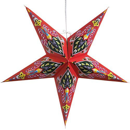 Ganasha-Red-Paper-Star-Lantern-with-12-Foot-Power-Cord-Included