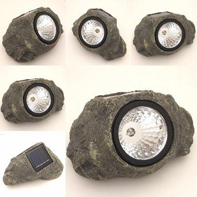 Solar Powered Rock Landscaping Spot 3-LED Light Garden Outdoor Stone Patio Sun (2) : Garden & Outdoor