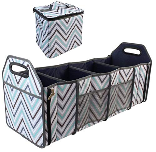 INNO STAGE Car Trunk Organizer with Insulated Cooler Bag - Collapsible Storage Basket Front or Backseat with Compartments for Emergency Supplies or Shopping Best Gift ()