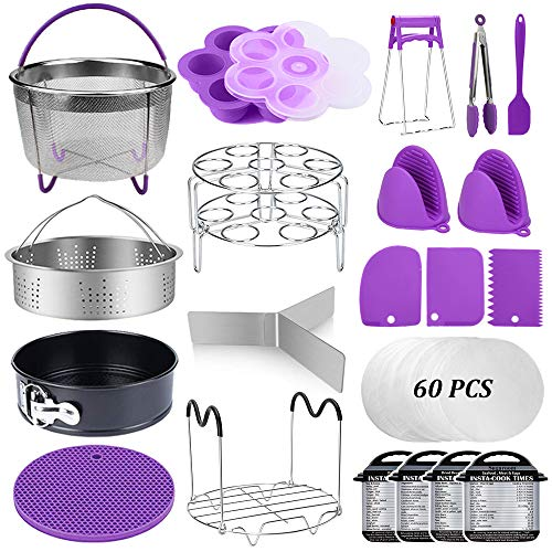 Pot Sets Accessories - 22 Pcs Pressure Cooker Accessories Set Compatible with Instant Pot 5,6,8 Qt, 2 Steamer Baskets, Springform Pan, Stackable Egg Steamer Rack, Egg Bites Mold, Steamer Rack Trivet, Parchment Papers & More
