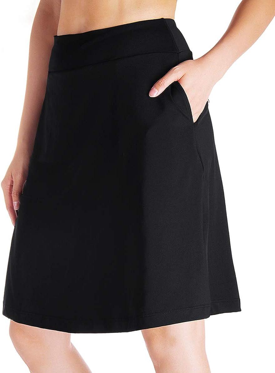 "Yogipace Women's 4 Pockets UV Protection 20"" Modest Knee Length Skirt Athletic Running Golf Tennis Skort Zippered Pockets: Clothing"