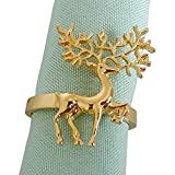 Elehere Holiday Napkin Rings Chirstmas Gold Adornment for Wedding Party Table (H10 Gold, Set of 12)