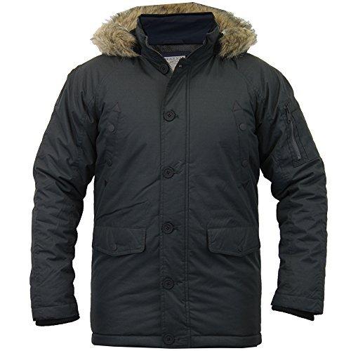 Herren Parkajacke Crosshatch Gefütterte Jacke Mit Kapuze Pelz Gesteppt Reißverschluss Gefüttert Winter Neu