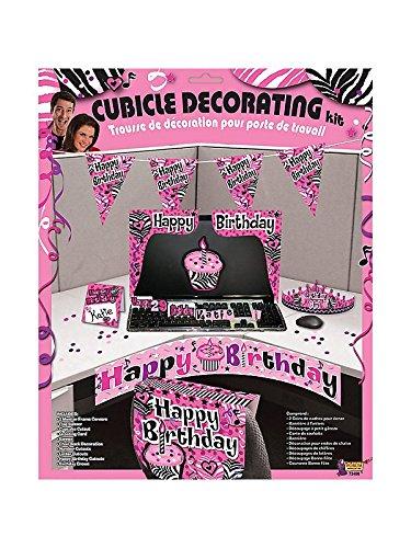 Forum Novelties BB72498 Pink Zebra Birthday Cubicle Decorating Kit (Pink Decorating Kit)