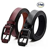 ANDY GRADE Set of 2 Women's Fashion Genuine Cowhide Leather Belt Vintage Casual Belts for Jeans Shorts Pants Summer Dress for Women With Alloy Pin Buckle By (Style A)