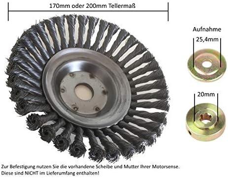 Zopfbürste Wildkrautbürste für Freischneider Trimmer 200x25,4mm Unkrautbürste