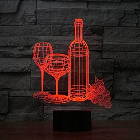 HPBN8 3D Red Wine Glass Red Wine Night Light Illusion Lamp 7 Color Change LED Touch USB Table Gift Kids Toys Decor Decorations Christmas Valentines Gift