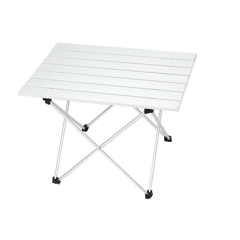 Sourcemall Mesa plegable de aluminio con bolsa de transporte, mesa mesa transporte, de acampada portátil enrollable para exterior, plata, Small 89b0c2