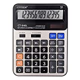 Everplus Electronic Desktop Calculator with 14 Digit Large Display, Solar Battery LCD Display Office Calculator (14D Gold)
