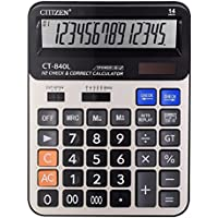 Calculator, Everplus Electronic Desktop Calculator with 14 Digit Large Display, Solar Battery LCD Display Office Calculator (14D Gold)
