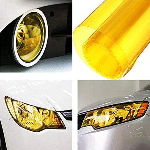 EASYTAR 12 by 40 inches Auto Car Sticker Smoke Fog Light HeadLight Taillight Tint Vinyl Film Sheet Car Decoration Decals(Gold)