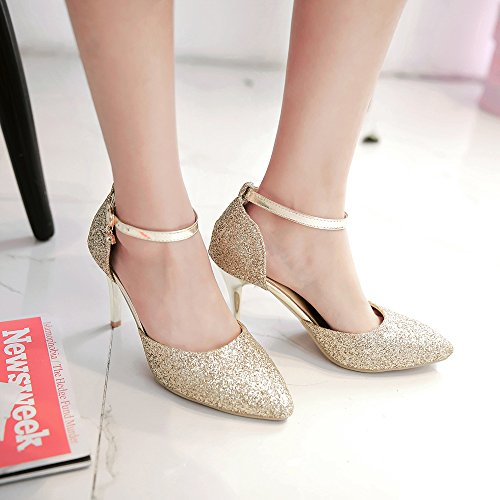 Stiletto Belted Dress Shoes Heel Ankle Pointed Party High Ladies Court Strap Wedding Pumps Gold Womens Shoes YqdBwaY