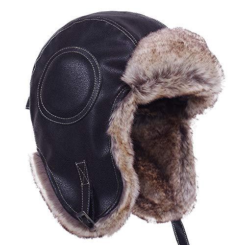 Janey&Rubbins Russian Hat Fur Soviet Ushanka Cossack Winter Cap Earflap Snow Ski Headwear (L, N - Black/Leather)
