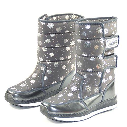 Alpinismo antiscivolo Velcro di da da In laterale caldo Stivali stivali turismo piedi cotone neve Mantenere donna XIE tubo da Scarpe impermeabile scarpe sci Cerniera gray a qwR76R1