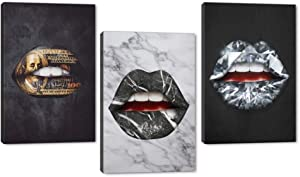 Colorful Sexy Lip Canvas Wall Art Pop Street Graffiti Art Gold Black Diamond Lip Picture Oil Painting Sexy Artwork for Bedroom Bathroom Living Office Wall Decor Gallery Wrap Easy to Hang-72''Wx36''H