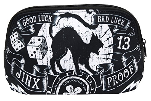 Liquorbrand Jinx Proof Halloween Black Cat Luck Goth Gothic Cosmetic Bag -