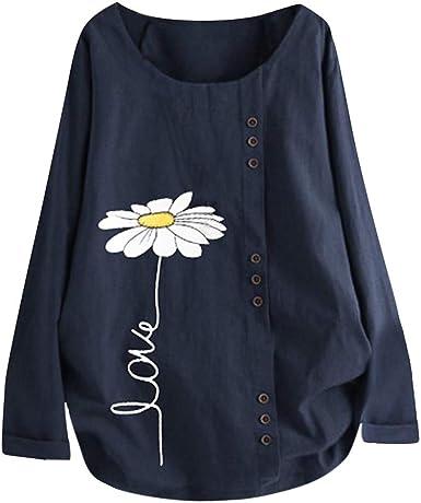 LEKODE Women T-Shirt Fashion Printed O-Neck Long Sleeve Stitching Tops