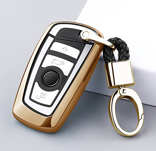 ontto for BMW Keycase Premium Soft TPU 360 Degree Full Protection Remote Control Key Shell Key Case Key Rings Cover for BMW 1 3 4 5 6 7 Series and Compatible with BMW X3 X4 M2 M3 Keyless (Gold)