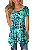 #3: MIROL Womens Summer Short Sleeve Floral Print Irregular Hem Asymmetrical Loose Fit Tunic Tops