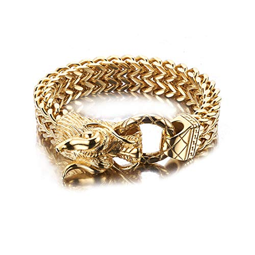 Heavy Cuff - Jewelry Kingdom 1 Stainless Steel Gold Polished and Blackened Dragon Head Bracelet Link Bangle Cuff for Men Boys Biker Heavy and Big Size 8.5