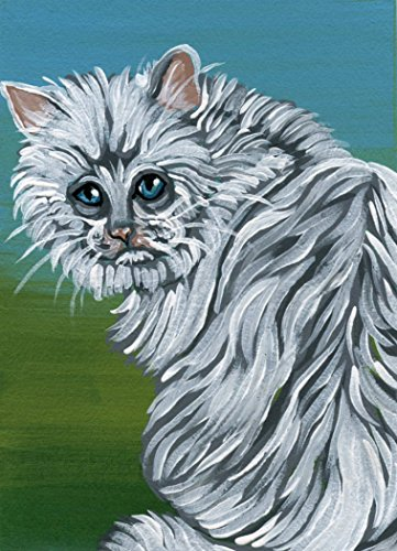 ACEO Original Trading Card-Blue Eyes White Persian Cat Art -free shipping-Carla Smale