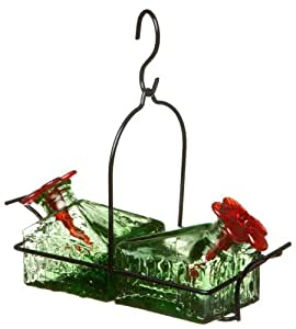 Basketweave 2 Hummingbird Feeder Green