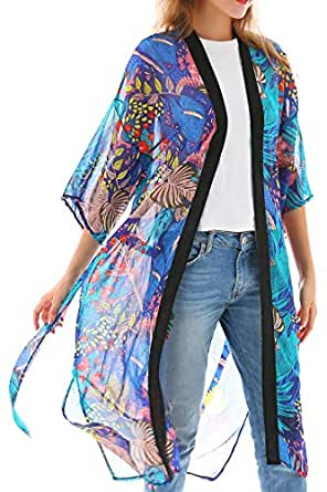 Women's Swim Cover-up with Leaf Printing Loose Kimono Cardigan with Belt