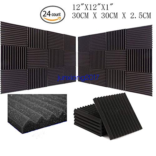 "FidgetGear 24 PACK 12""X 2""X1"" Acoustic Foam Panel Wedge Studio Soundproofing Wall Tiles from FidgetGear"