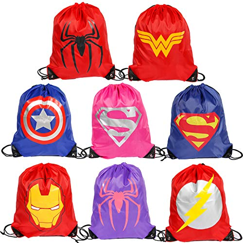 Superdaddy Superhero Drawstring Backpacks Birthday Party Supplies Comic Animation Bags for Kids Pack of 8]()