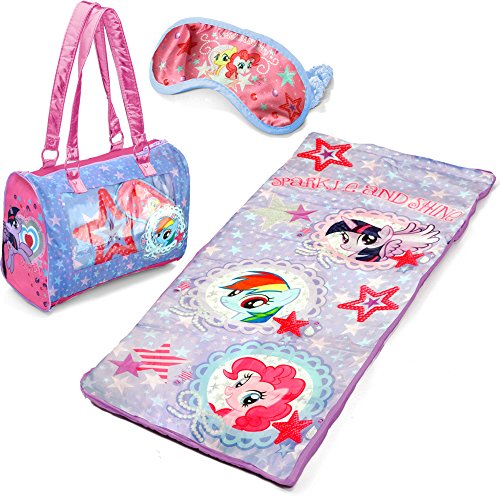[My Little Pony 3-Piece Kids Pink Sleepover Set with Sleeping Bag and Bonus Eye Mask Made of] (Home Made Angel Costumes Kids)