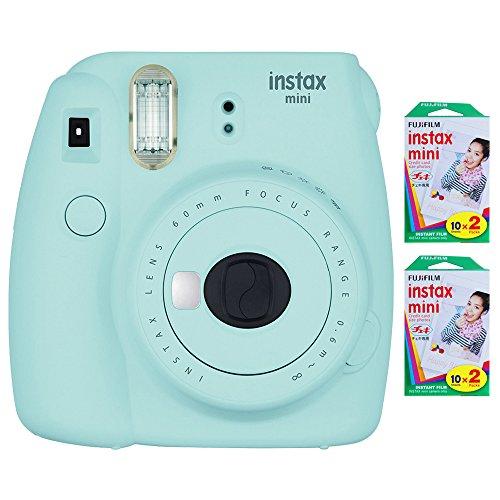 Fujifilm Instax Mini 9 Instant Camera - Ice Blue (16550643) w/ Fujifilm INSTAX MINI 40 Sheets of Instant Film by Fujifilm
