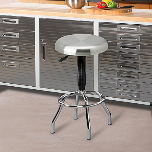 Seville Classics Stainless Steel Top Work Stool (Stool Shop Steel)