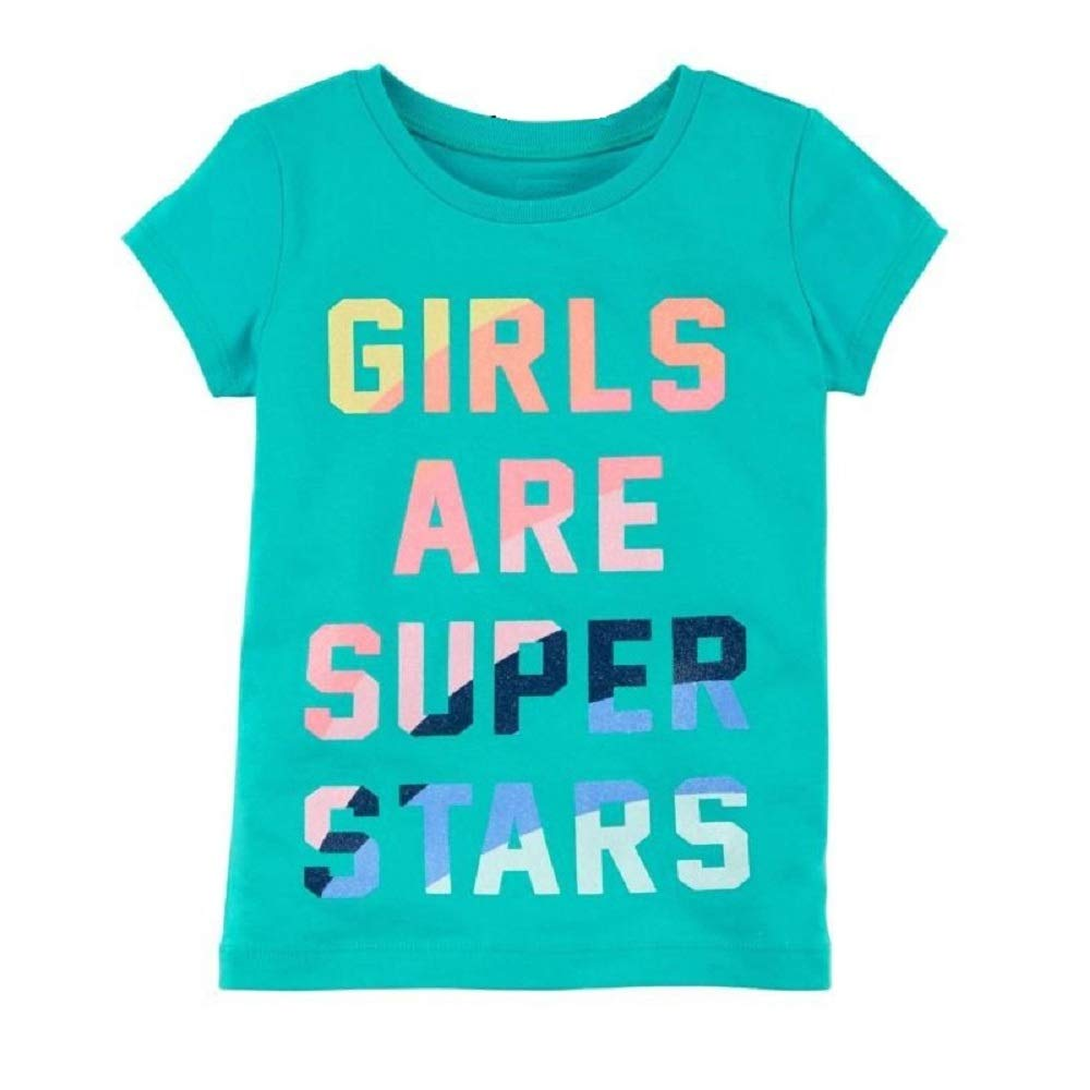 Hooyi Summer Baby Girl Letters Super Star tee Cotton t-Shirt Children Clothes Tops 0-2 Year