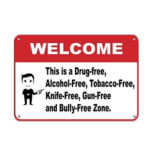 Personalizado señales de metal Bienvenido a drogas/Alcohol/Tabaco/cuchillo/gun-free Zone Metal de aluminio Sign 8x...