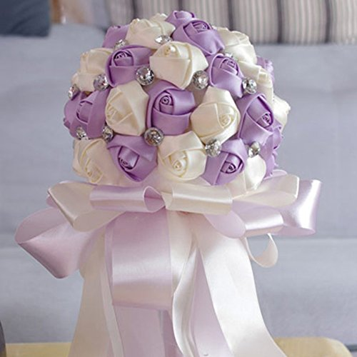 Purple wedding bouquets amazon faybox crystal satin rose bridal bridesmaid bouquets wedding flower decor light purple mightylinksfo