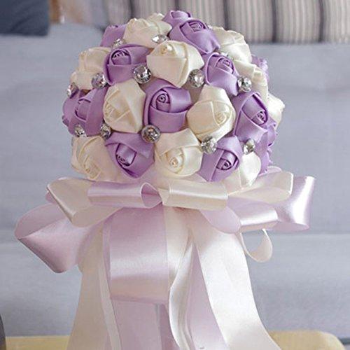 FAYBOX Crystal Satin Rose Bridal Bridesmaid Bouquets Wedding Flower Decor Light Purple