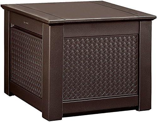 Rubbermaid Patio Chic Outdoor Storage Deck Box, Cube, Dark Teak Wicker  Basket Weave (1837303)