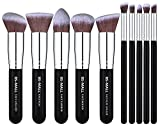 BS-MALL(TM) Makeup Brushes Premium Makeup Brush Set Synthetic Kabuki Makeup Brush Set Cosmetics Foundation Blending Blush Eyeliner Face Powder Lip Brush Makeup Brush Kit(10pcs, Silver Black) (Health and Beauty)