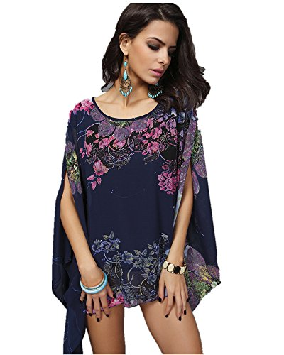 QvQ Day Women Oversize Flowy Chiffon Shirt Lightweight Loose Sheer Blouse Bobo Floral Print O-Neck Top Tunic Plus Size Swimsuit Cover-up For Spring Summer (Print Camisole Sheer)
