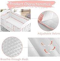Pink Tonquu Baby Crib Bumper Pads for Standard Cribs Machine Baby Mesh Crib Liner Lightweight Washable Safe Hypoallergenic