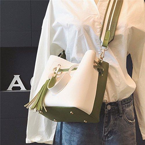 Bolso de hombro de la niña Bolsa de mensajero de la correa de hombro amplia Bolso simple Rosa Azul Verde Amarillo (Color : Amarillo) Green