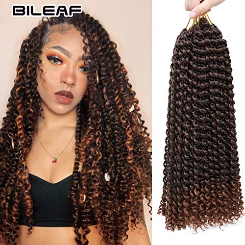 6Pcs Passion Twist Hair 18 Inch Braiding Water Wave Crochet Hair for Passion Twist Bohemian Curly Hair for Crochet Braids Twist (M1B-30)