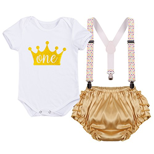 IBTOM CASTLE Baby Infant Girls Christmas Romper Adjustable Y Back Clip Suspender Set Bloomers First Birthday Outfits Clothing Set White+Golden 12-18 Months -