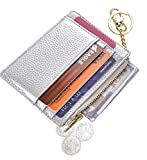 Womens Slim RFID Credit Card Holder Mini Front Pocket Wallet Coin Purse Keychain (LicheeSilver)