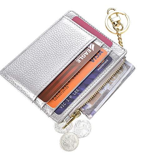 - Womens Slim RFID Credit Card Holder Mini Front Pocket Wallet Coin Purse Keychain (LicheeSilver)