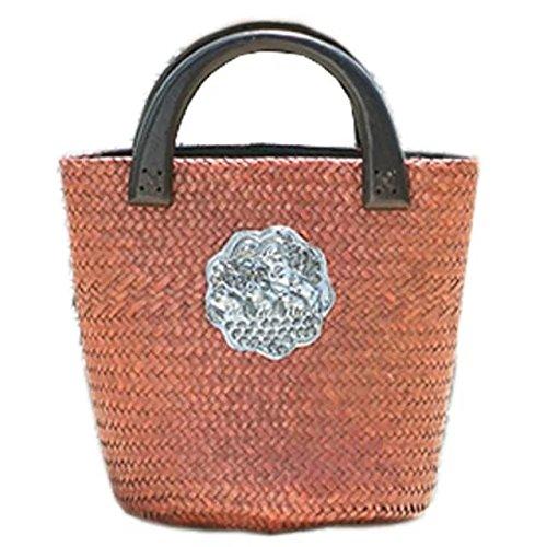 bordado hecho a mano de punto / tejido bolso / taleguilla de paja de la rota de bambú marrón