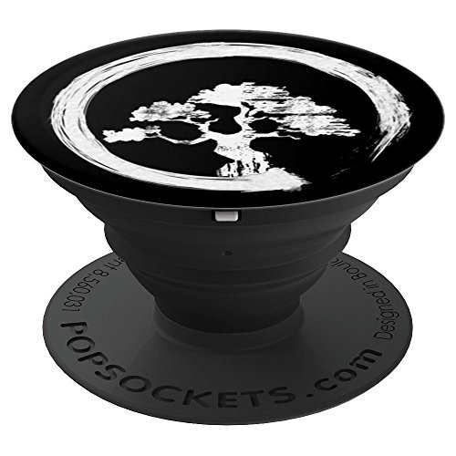 Japanese Zen Bonsai - White - PopSockets Grip and Stand for Phones and Tablets by Japanese Live Zen Bonsai