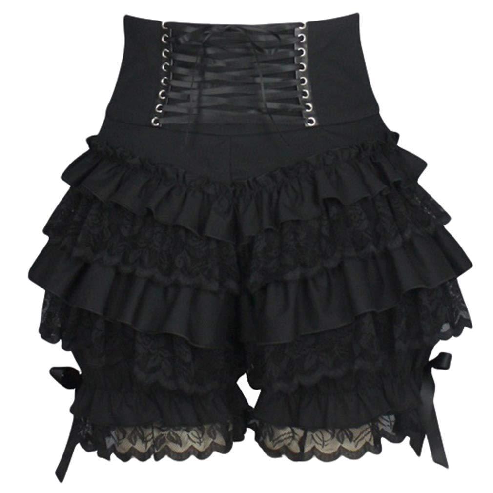 Hibote Donna Vita Alta Pantaloncini Steampunk Lolita Pantaloncini Periodo Vittoriano Lace-up Pantaloni Stratificato Pizzo Retro Leggings Cosplay Abbigliamento